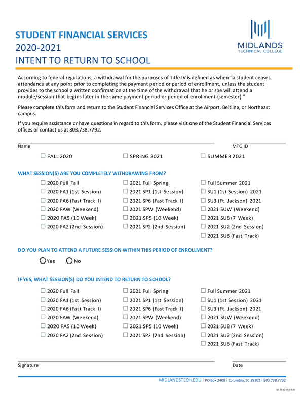 Fill Free Fillable Forms Midlands Technical College