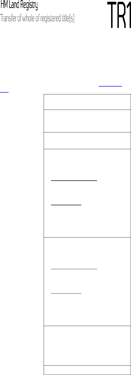 Land Registry Tr1 >> Fill - Free fillable form tr1 hm land registry transfer of whole of registered titles PDF form