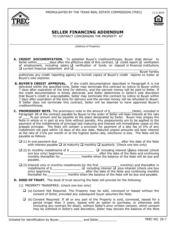 Fill - Free fillable Texas Real Estate Contract PDF forms