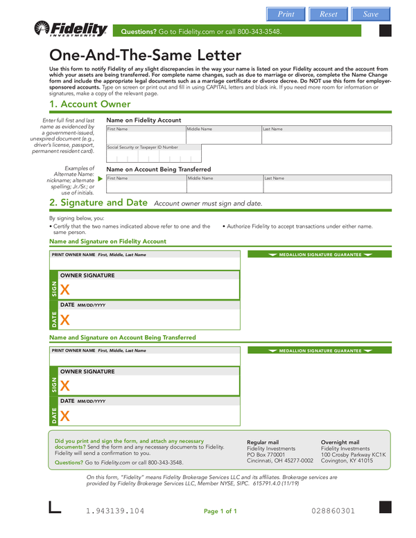 fidelity investments forms and documents