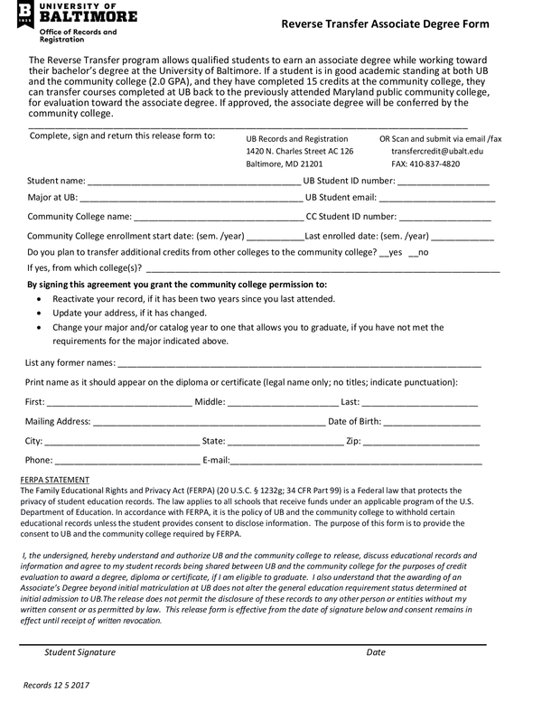 Fill - Free fillable forms: University of Baltimore