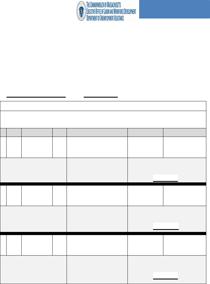 Fill Free Fillable Commonwealth Of Massachusetts Work Search Activity Log Pdf Form